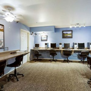 business center with spacious desks and computers